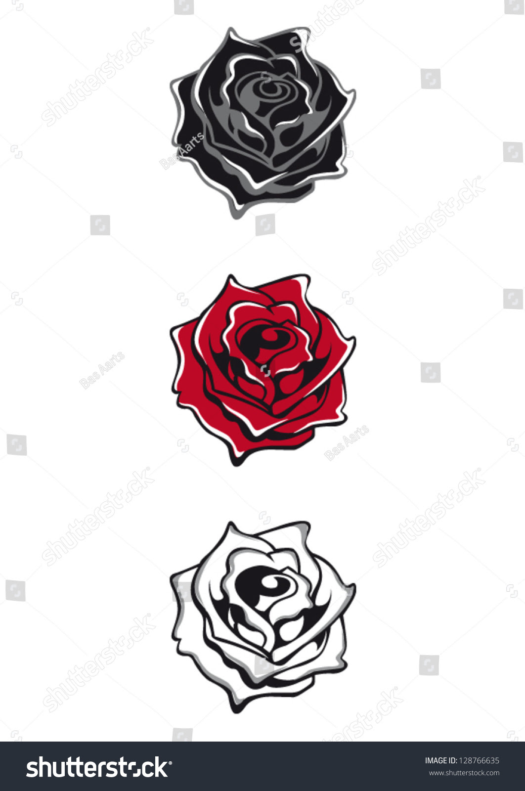 Dongetrabi Black And White Red Rose Tattoo Images