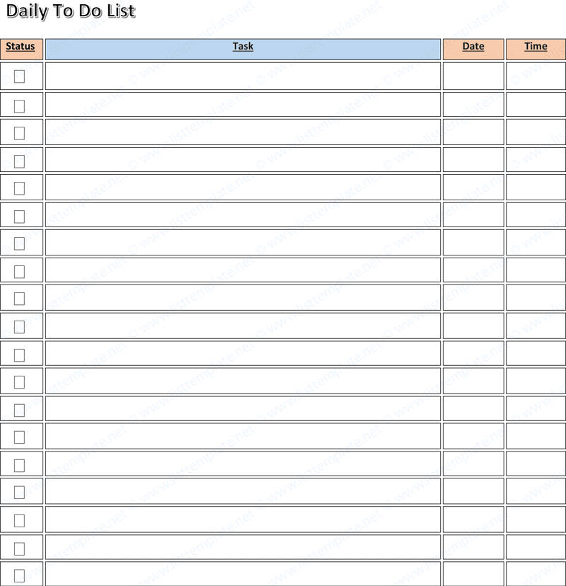 Daily To Do Checklist Template – Daily Planner