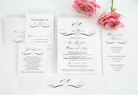 Classic Vintage Wedding Invitations in Black and White
