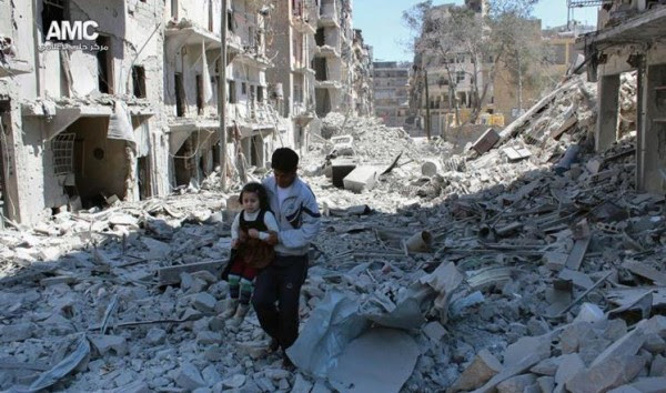 This photo shows one of the Aleppo streets after it was bombed by Russia. According to al Jazeera TV  the airstrikes today in Aleppo resulted in the killing of tens of civilians and in Daraa, southern Syria  one whole family was killed by a Russian airstrike