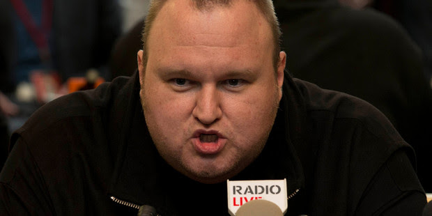"Kim Dotcom during the press conference that followed his ""Moment of Truth"". Photo / NZ Herald"