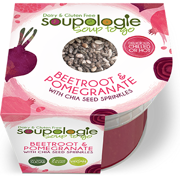 SOUPOLOGIE SOUP TO GO BEETROOT & POMEGRANATE WITH CHIA SEED SPRINKLES