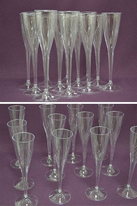 """9"""" Clear One Piece Plastic Champagne Flute   Pack of 60"""
