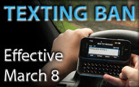 Texting Ban takes effect March 8