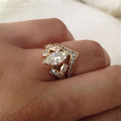 Gold Marquise Diamond Engagement Ring and Chevron Women's