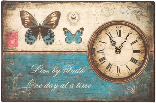 Manual Woodworkers and Weavers Live by Faith One Day at a Time Butterfly Wall Clock, 15 by 10-Inch