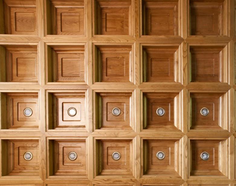 controsoffitto a cassettoni legno massello