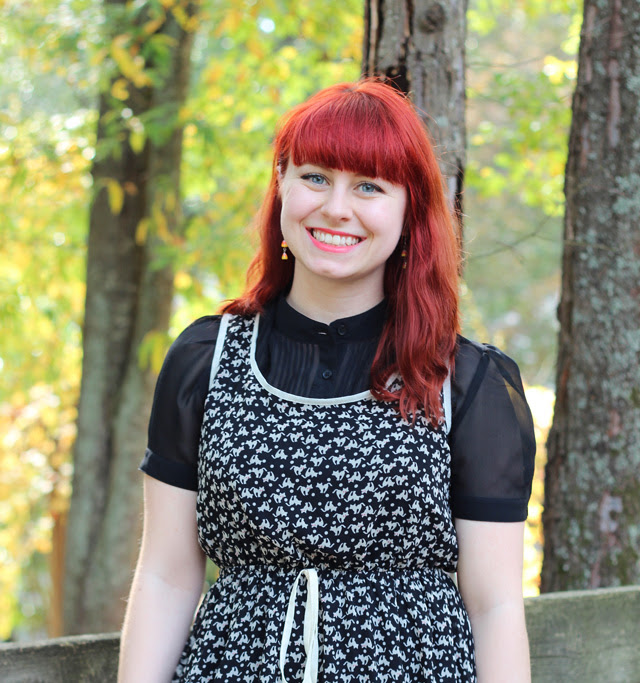 Cat Print Modcloth Dress over a Black Blouse