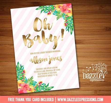 Printable Tropical Flowers with Gold Foil Baby Shower