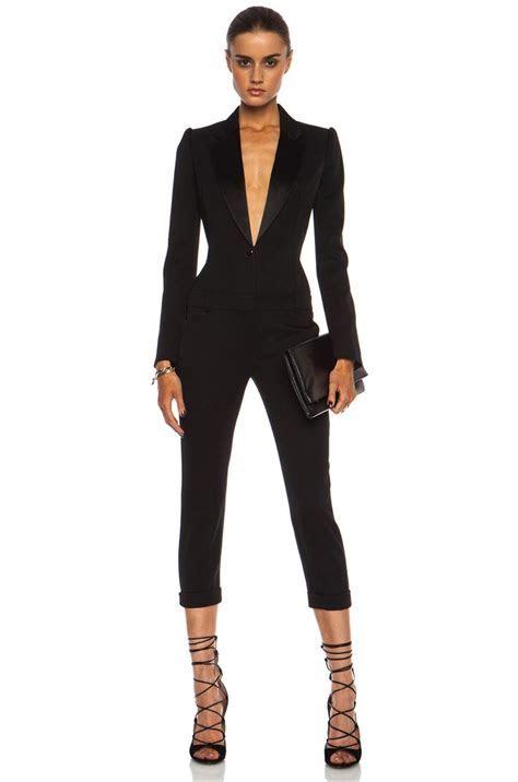 Alexander McQueen Cigarette Tuxedo Virgin Wool Jumpsuit in