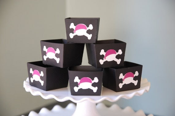 Pink Skull Candy Cups, Pink Pirate Party, Pink Skull Party, 12 Pcs
