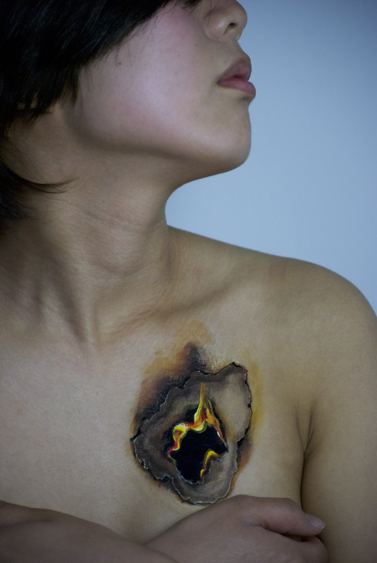 """Fire in my heart""Directly painted on skin with Acrylic paint"