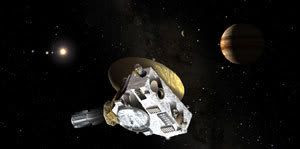 An artist's rendition depicting the New Horizons spacecraft flying by Jupiter.