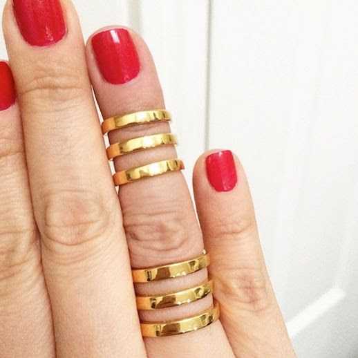 Le Fashion Blog Instagram RGB Cosmetics Red Nail Polish Bauble Bar Stack Rings Midi Ring