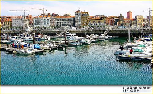 Desde el puerto deportivo, Gijón