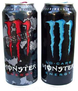 latas de monster bebida con taurina y cafeina