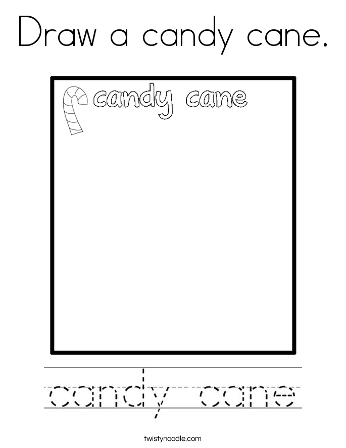 Draw a candy cane Coloring Page - Twisty Noodle