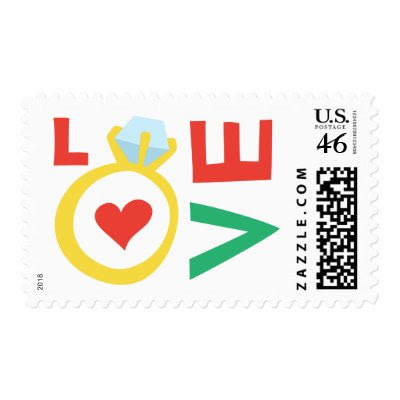 Colorful love wedding ring postage stamps by TheStationeryShop