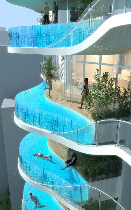 27 Things That Definitely Belong In Your Dream Home (http://www.buzzfeed.com/)  #4 A balcony pool.   Source: toxel.com