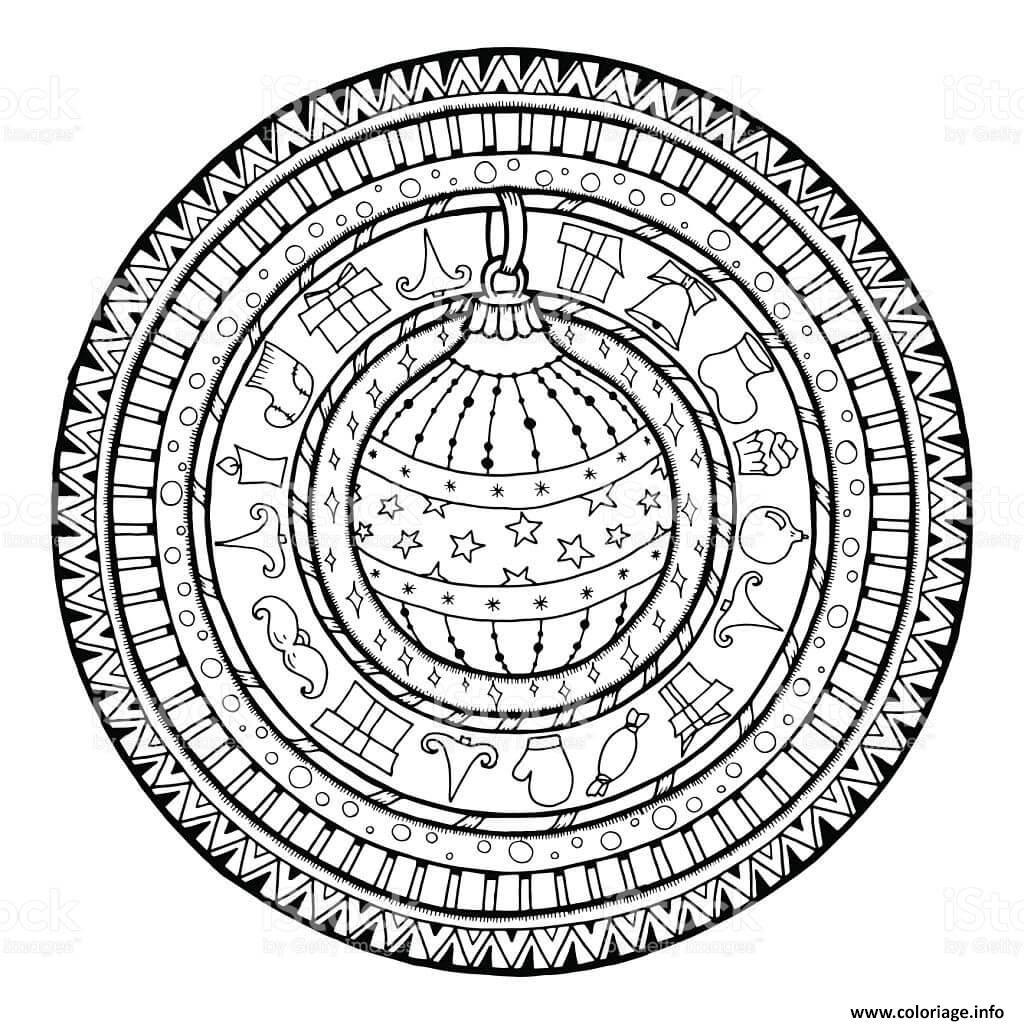 Coloriage Mandala De Noel Cadeaux Boule De Noel Dessin  Imprimer