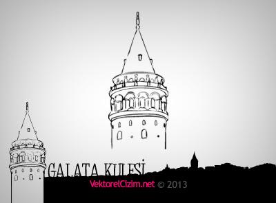 Vektörel çizim Galata Kulesi