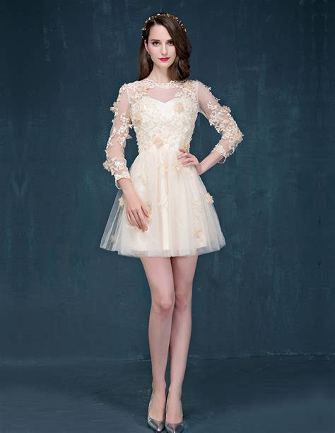 Champagne Sleeve Short Prom Dress Lace Cocktail Dress