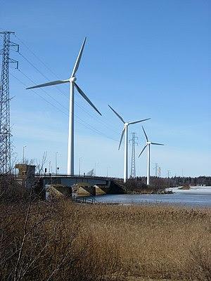 Windmills in Pori, Finland. 1 MW.
