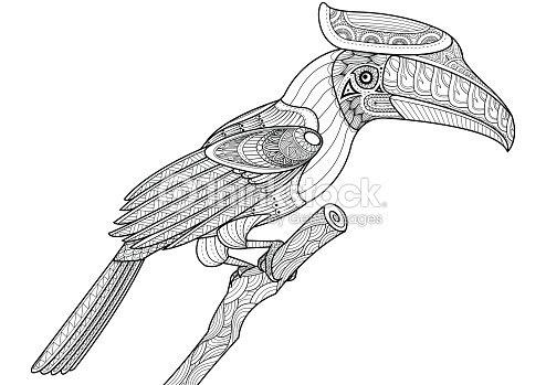 サイチョウ鳥でクリスマスツリーに塗り絵の本 Zentangle デザイン