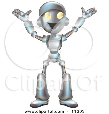 Friendly Futuristic Robot Happily Gesturing With His Arms Up Clipart Illustration by Geo Images