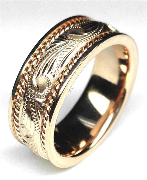 Wedding Band   Rose Gold 8.5mm Rope & Engraved Men Wedding