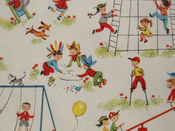 Vintage Gift Wrapping Paper - Juvenile Mid Century Children Playing on the Playground - 1 Unused Full Sheet