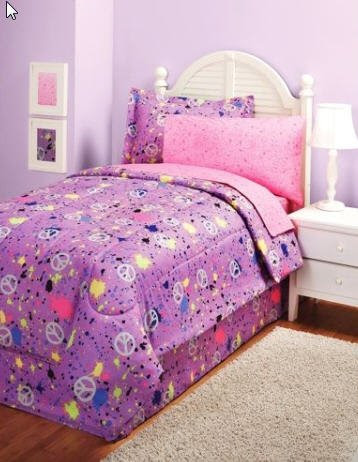 Purple Pink Peace Girls Teens Full Comforter Sheet Set ...
