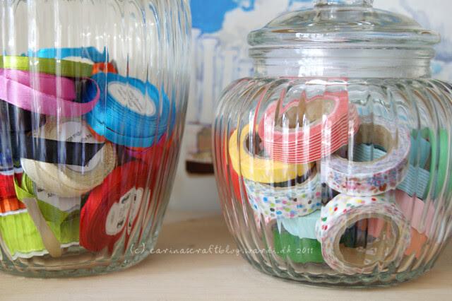Ribbon and tape jars