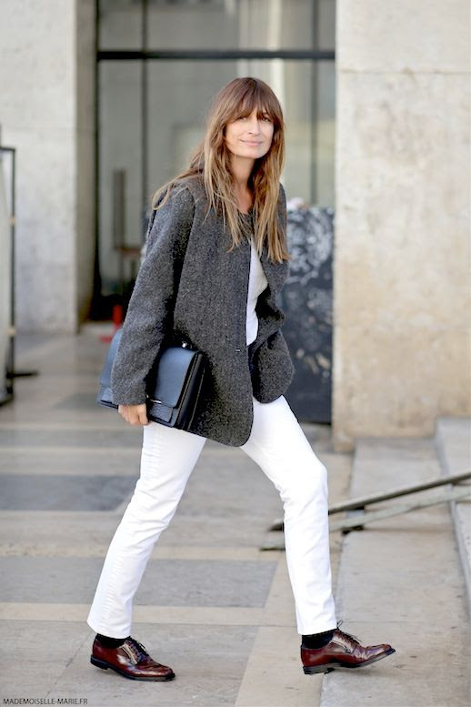 Le Fashion Blog Street Style Caroline De Maigret Menswear Inspired Look Grey Blazer Tee Black Clutch White Jeans Oxfords Via Mademoiselle Marie