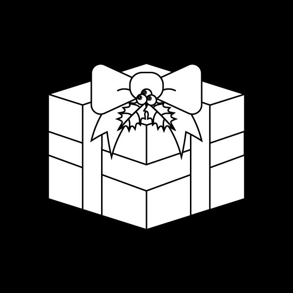 塗り絵に最適な白黒でかわいいクリスマスプレゼントボックスの無料