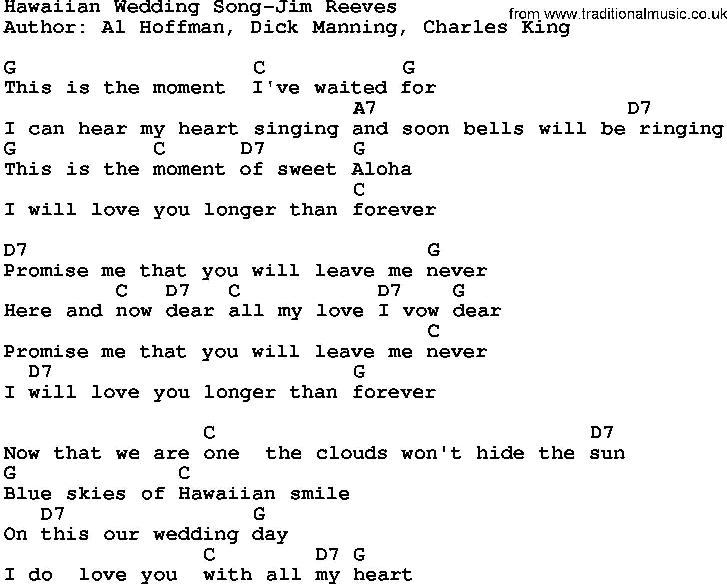 Country Music Hawaiian Wedding Song Jim Reeves Lyrics And Chords