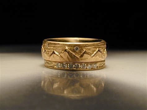 Custom Women's Hand Carved Mountain Wedding Ring by James