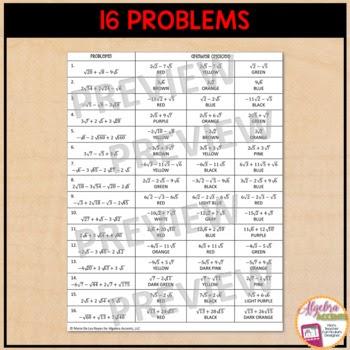 99 pdf ALGEBRA WORKSHEET RADICALS PRINTABLE and ...