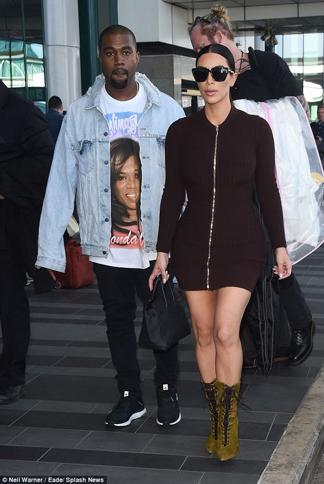 The Kim and Kanye tour: The loved-up married couple were pictured arriving in Rome on Sunday afternoon following a weekend break in London