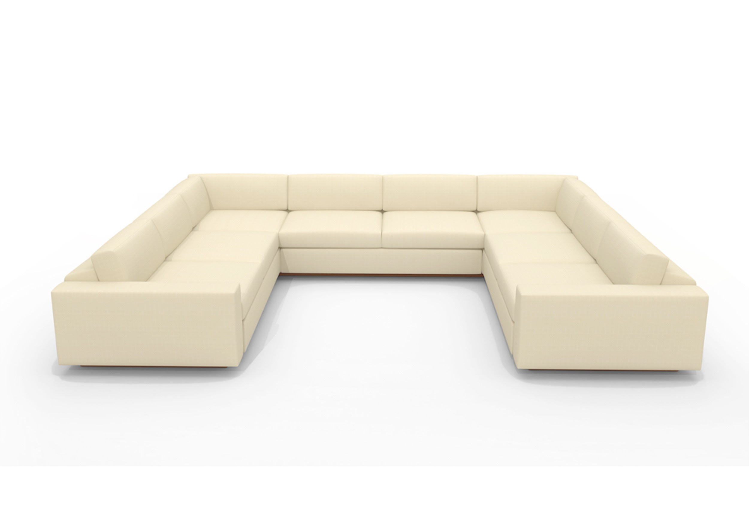 U Shaped Sectional Sofa With Light Cream Color