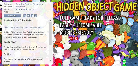 Asset Store - Hidden Object Game Template