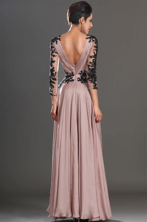 Elegant Long Sleeves Blush Pink Chiffon Evening Dress with