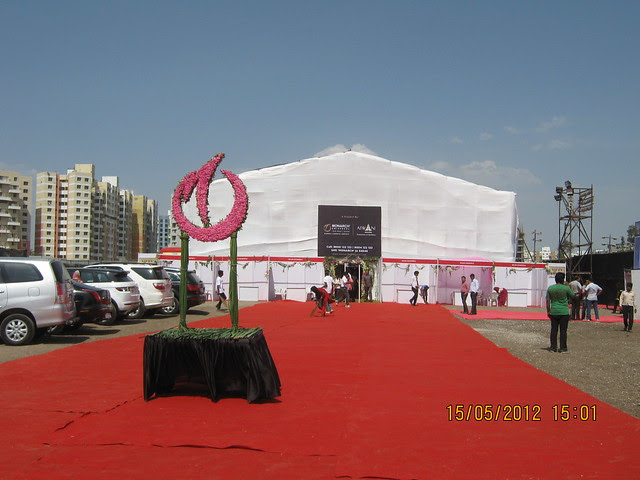 Air-conditioned Tent for Bhumi-Pujan -  Visit Monarch Renaissance, 4 BHK 3 BHK & 2 BHK Flats at Wakad, Pune 411057