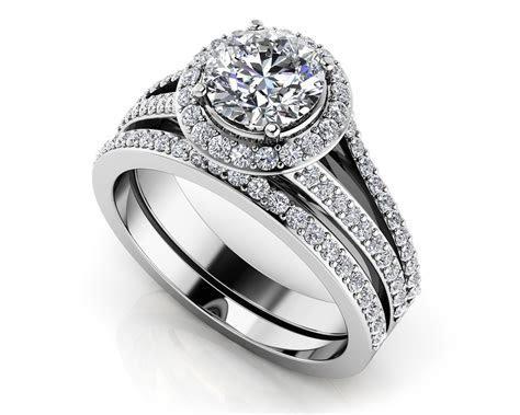 Dazzling Four Row Diamond Engagement Set   Roco's Jewelry