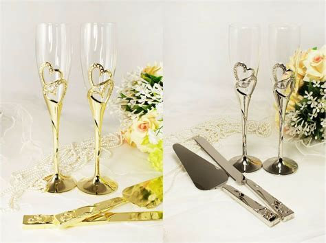 Wedding Toasting Glass Knife and Wedding Cake Server Set