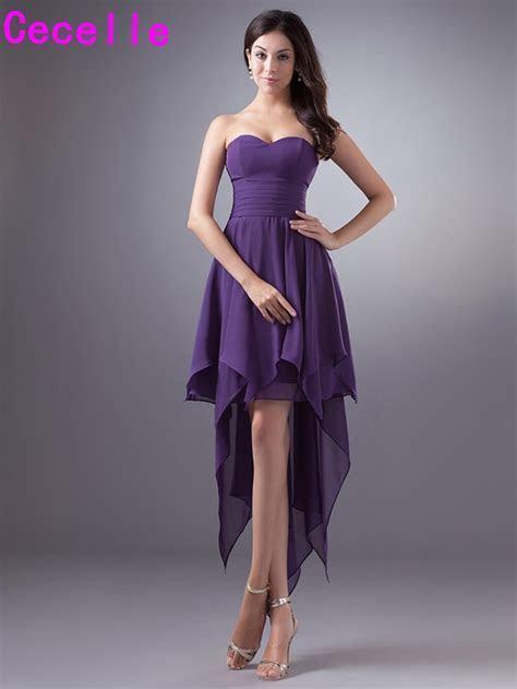 Purple Short High Low Chiffon Bridesmaid Dresses Cheap
