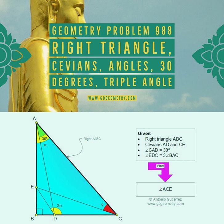 Problema de Geometría 988. Geometry Problem 988: Triangulo rectangulo, Cevianas, Angulos, 30 grados, Triple angulo, iPad, Apps, poster, tipografia. Ingles ESL, English.