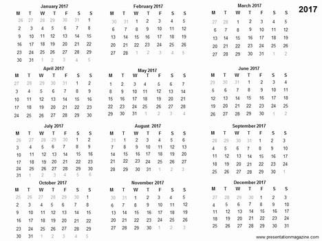 2017 Calendar 1 Page Printable – 2017 Calendar