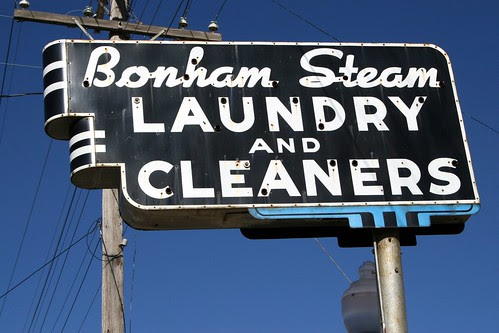 bonham steam laundry and cleaners neon sign