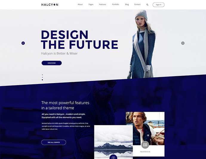 Halcyon - Website Template PSD moderno multipropósito